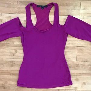 Guess LA Cold Shoulder Purple Long Sleeve Top XS